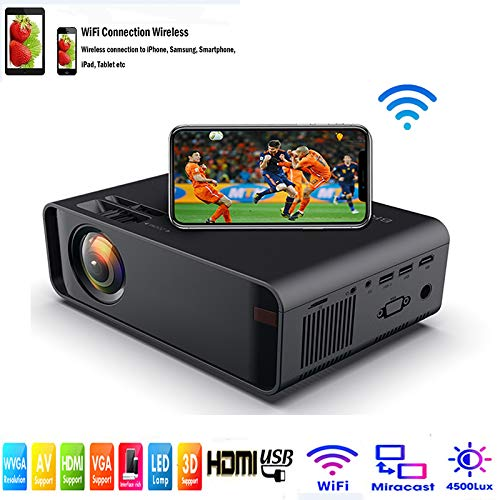 SOTEFE Mini LED Proyector Portable 4500 Lumens - WiFi Proyector Portátil Full HD 1080P Video Multimedia Para iPhone/Samsung/Sony/Hauwei Smartphone Compatible con HDMI/USB/Tarjeta SD/VGA/AV/TV Box/PS4