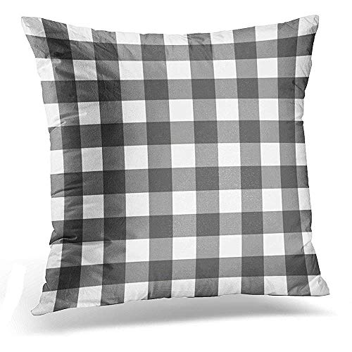 Throw Pillow Cover Grey White Plaid Buffalo Check Classic Decorative Pillow Case Home Decor Square 18x18 inches Pillowcase