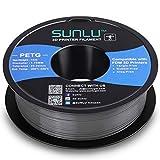 SUNLU Filamento PETG de 1.75mm con Carrete Sunlu Upgrade de 1kg(2.2lbs), Precisión dimensional +/- 0.02mm, se ajusta a la mayoría de las Impresoras FDM, Gris