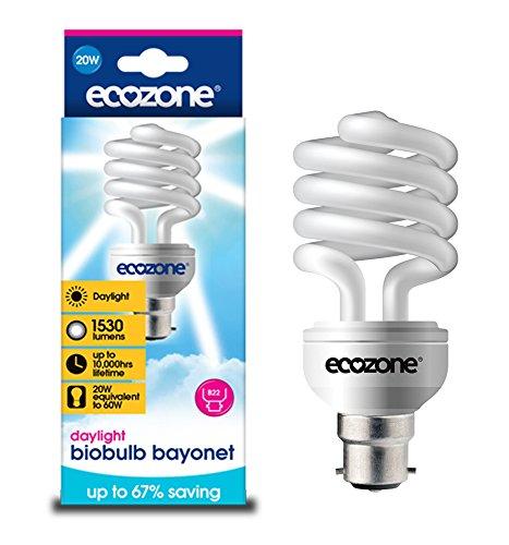 Biobulb Ampoule Basse Consommation, Baionnette B22 - économie: 20W Equivalant à une Ampoule Incandescente 60w - 1530 Lm - Blanc Jour 6400k - Économie d'énergie supérieure à 68%, idéal pour les personnes souffrent de troubles affectifs saisonniers TAS