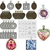 Bandejas colgantes Gema de joyería Colgante Broche Molde Kit de artesanía, utilizado para hacer gemas hechas a mano y regalos de joyería de bricolaje