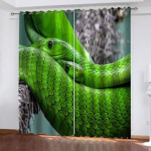 shzyy Sonnenschutzvorhänge, 3D-Polyesterfaservorhänge der grünen Schlange, Coole Schlafzimmer-Schlafzimmerdekoration, hohe Verdunkelungsvorhänge (59