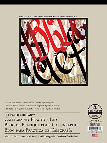 Bee Paper Calligraphy Practice Pad, 9-Inch by 12-Inch