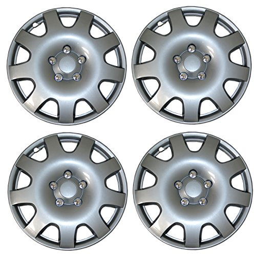 Tuningpros WC3-15-502-S - Pack of 4 Hubcaps - 15-Inches Style Snap-On (Pop-On) Type Metallic Silver Wheel Covers Hub-caps