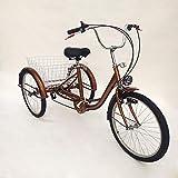 OUBAYLEW Triciclo Adulto con Cesta 24' 3Ruedas 6velocidades Ajustable + luz Principal (Dorado)