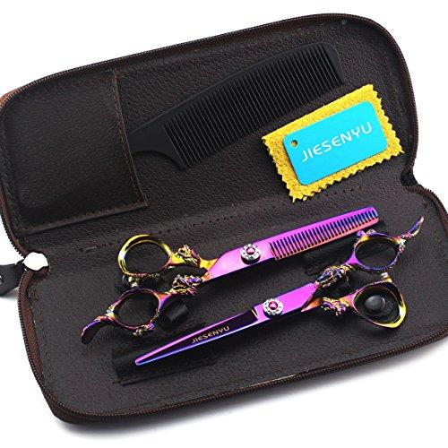 JIESENYU Professionelle Friseurschere, Rasiermesser, 6 zoll 17.2cm, japanische Edelstahlschere Haarschneideschere Ausdünnungsscherset, Friseur für den Heim- oder Friseursalon