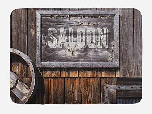 Lunarable Western Bath Mat, Aged Wooden Sign with Word Saloon, Planks on The Background, Classic Style Art, Plush Bathroom Decor Mat with Non Slip Backing, 29.5' X 17.5', Brown Grey