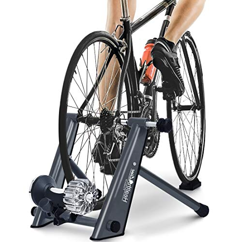 HEALTH LINE PRODUCT Indoor Fluid Bike Trainer, Stationary Exercise Cycling Heavy Duty Portable Stand, Fit 26-29' Mountain & Road Bicycle with Sweat Guard/Quick Release/Riser Block