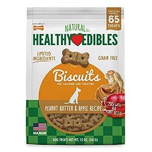 Nylabone Healthy Edibles Biscuits Grain Free Dog Treats Peanut Butter & Apple Flavor 12 oz.