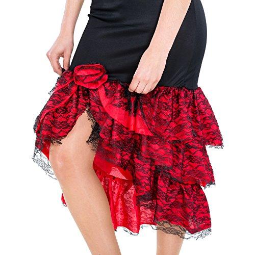 TecTake dressforfun Disfraz de Flamenca Bailarina de Tango para Mujer | Precioso Vestido Largo con Volantes en la Falda y el Escote (S | no. 300631)