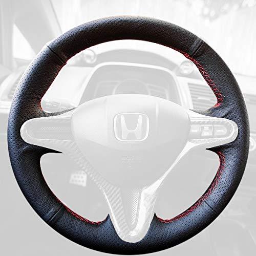 RedlineGoods Cubierta del Volante Compatible con Honda Civic 2006-11 Alcantara Negra Costura Azul