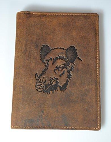 Jagdscheinetui Echtleder Wildschwein-Motiv (braun)