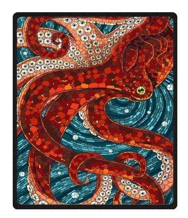 Red Octopus Plush Throw Blanket