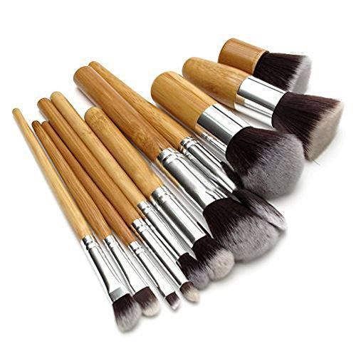 Nuohuilekeji 11 pcs Poignée en bois Maquillage de fard à paupières Fond de teint correcteur Brosse de