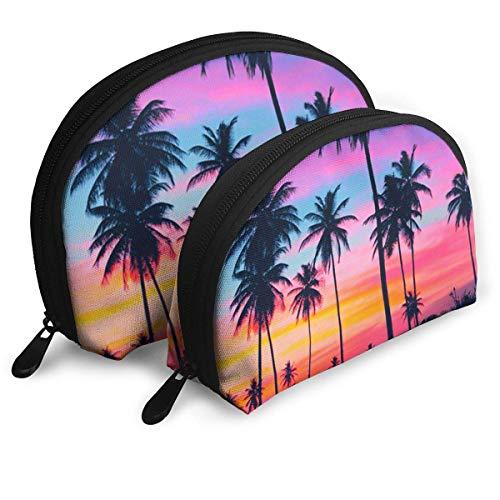 Tropische Palm Tree Behang Reizen Draagbare Cosmetische Tassen Organizer Set van 2 voor Vrouwen Tieners Meisjes
