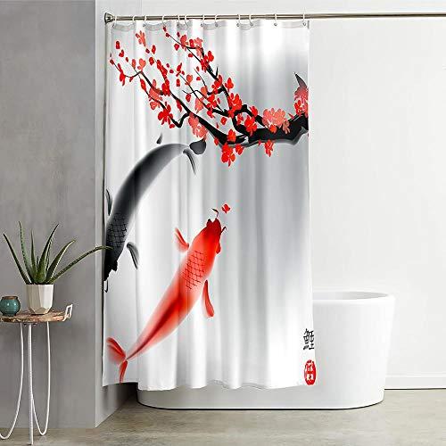 ZDPLL Wasserdicht Duschvorhang Pflaume und Koi Stoff Polyester Duschvorhänge, Shower Curtains mit Duschvorhangringe für Badewanne & Bathroom 150x200cm