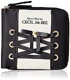 [セシルマクビー] 財布 レディース 二つ折り ラウンドファスナー リボン ロゴ ブラック
