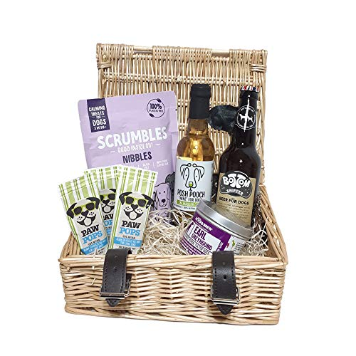 WOOF&BREW The Pet Drinks Company Dog Treat Gift Hamper Selection Basket - Ideal Xmas Present for Dogs & Cats