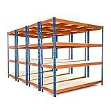 Racking Solutions - MEGA DEAL - 4 unidades de estantería / Estante del garaje de acero,...