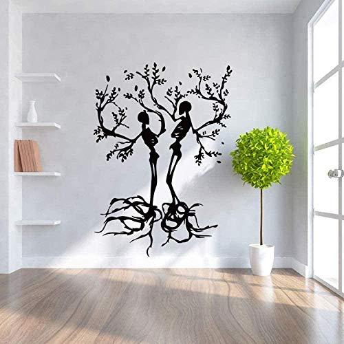Pegatinas de pared de vinilo decoración del hogar Pegatinas de pared árbol de dibujos animados Halloween cuerpo humano silueta tallado dormitorio 80X57cm