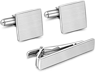 Merit Ocean Stainless Steel Cufflink and tie Clip Set with Business Part