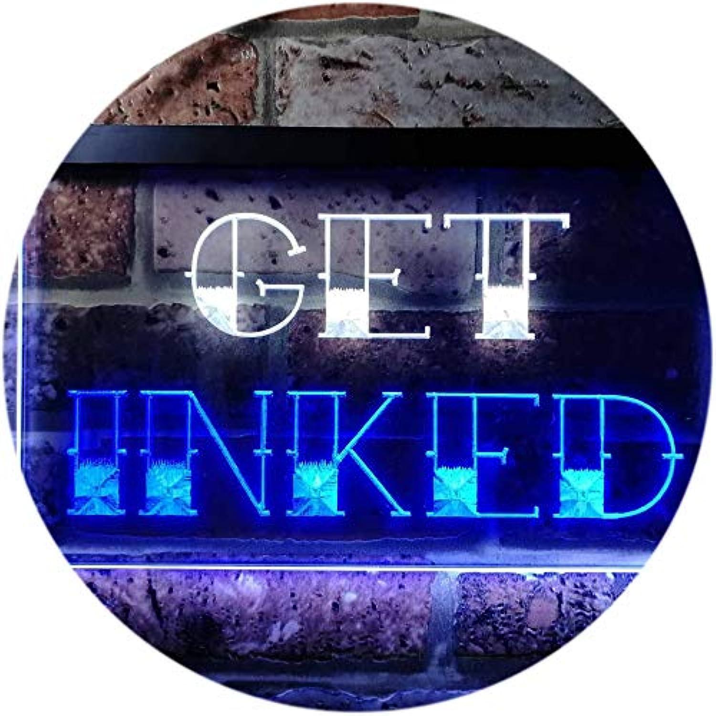 ADVPRO Get Inked Tattoo Piercing Dual Farbe LED Barlicht Neonlicht Lichtwerbung Neon Sign Weiß & Blau 400mm x 300mm st6s43-i0548-wb