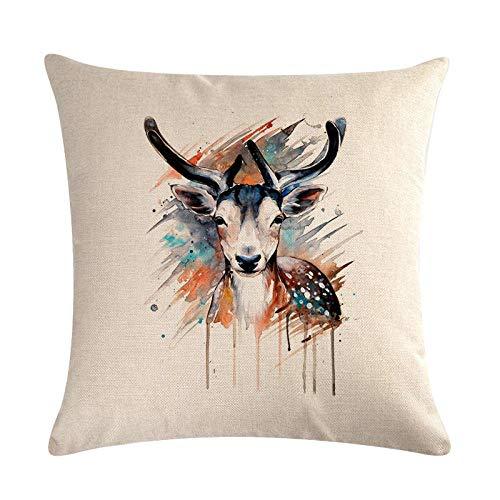 ouyalis Cushion Covers Feather elephant sofa decoration cotton linen cushion cover pillowcase home decoration pillow-D04