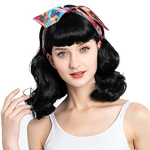 Bybrana Hair 50s wig Rockabilly Vintage Wig Wavy Black Wig With Bangs bettie page wig for Woman for Cosplay & Daily Use(14'')