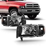 For 94-01 Dodge Ram 1500 2500 3500 Truck Black Headlights w/Corner Signal Lamps Left+Right