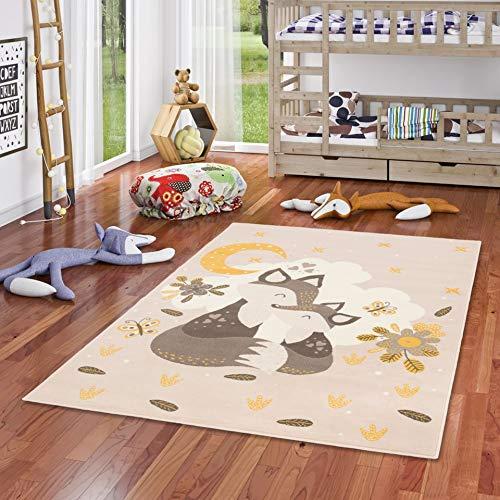 Pergamon Kinderteppich Samba Kids Fuchs Mond und Sterne Beige Gelb in 5 Größen