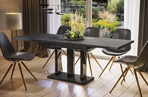 Endo-Moebel Esstisch Appia 130cm - 210cm erweiterbar ausziehbar Säulentisch Küchentisch (Beton dunkel)