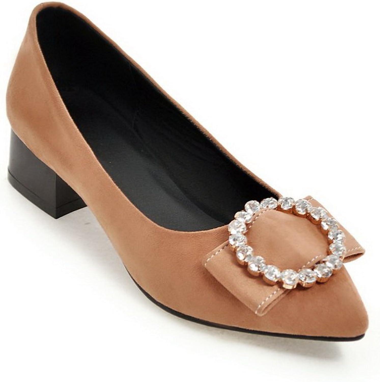 BalaMasa Womens Rhinestones Chunky Heels Pointed-Toe Suede Pumps shoes