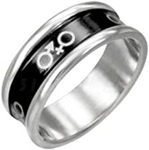 Male & Female Symbol Ring w/Round Edge - Stainless Steel and Black Enamel Ring. Bisexual LGBT Pride Ring