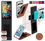 reboon Hülle für Gionee Elife E7 32GB Tasche Cover Case Bumper | Braun Leder | Testsieger