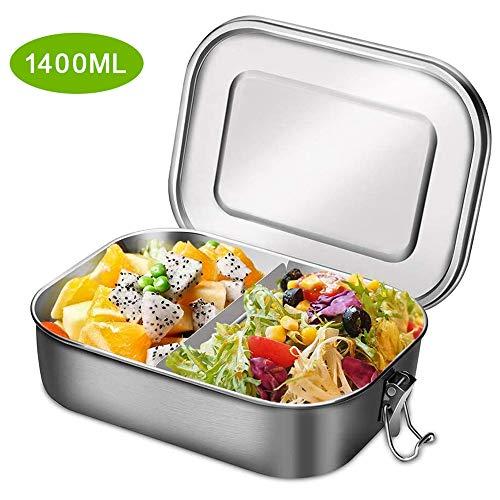 Aiskki Lunchbox Edelstahl Brotdose Auslaufsicher, Box Mittagessen Mit Unterteilung Stainless Steel Bento Boxen mit Herausnehmbarer Trennwand, Große Metall Blechbrotdose 1400ml