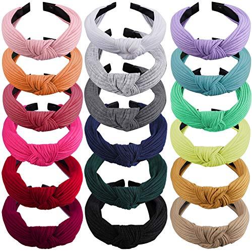 SIQUK 18 Pieces Top Knot Headband Wide Turban Headband Cloth Cross Knot...