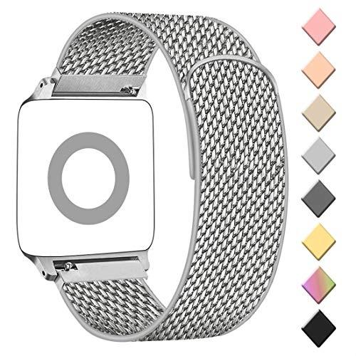 AK Cinturino Compatibile con Apple Watch Cinturino 38mm 40mm 42mm 44mm, Maglia Milanese Cinturino in Acciaio Inossidabile in Metallo per iWatch Serie 5/4/3/2/1 (38/40MM, 02Argento)