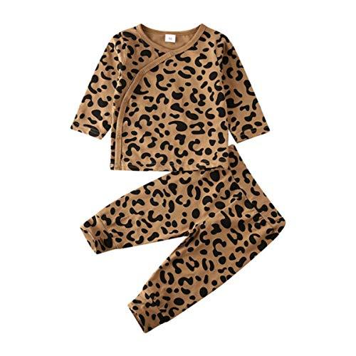 puseky bebé recién Nacido Estampado de Leopardo Camisa + Pantalones Ropa Traje Ropa de casa Ropa...