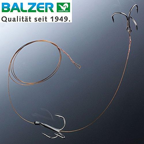 Balzer Matzes Doppel Drilling System 70cm 9kg - Hechtvorfach für Köderfische zum Grundangeln & Driftangeln, Stahlvorfach für Hecht, Hakengröße/Ködergröße:Gr. 4 / M für Köder von ca. 9-13cm
