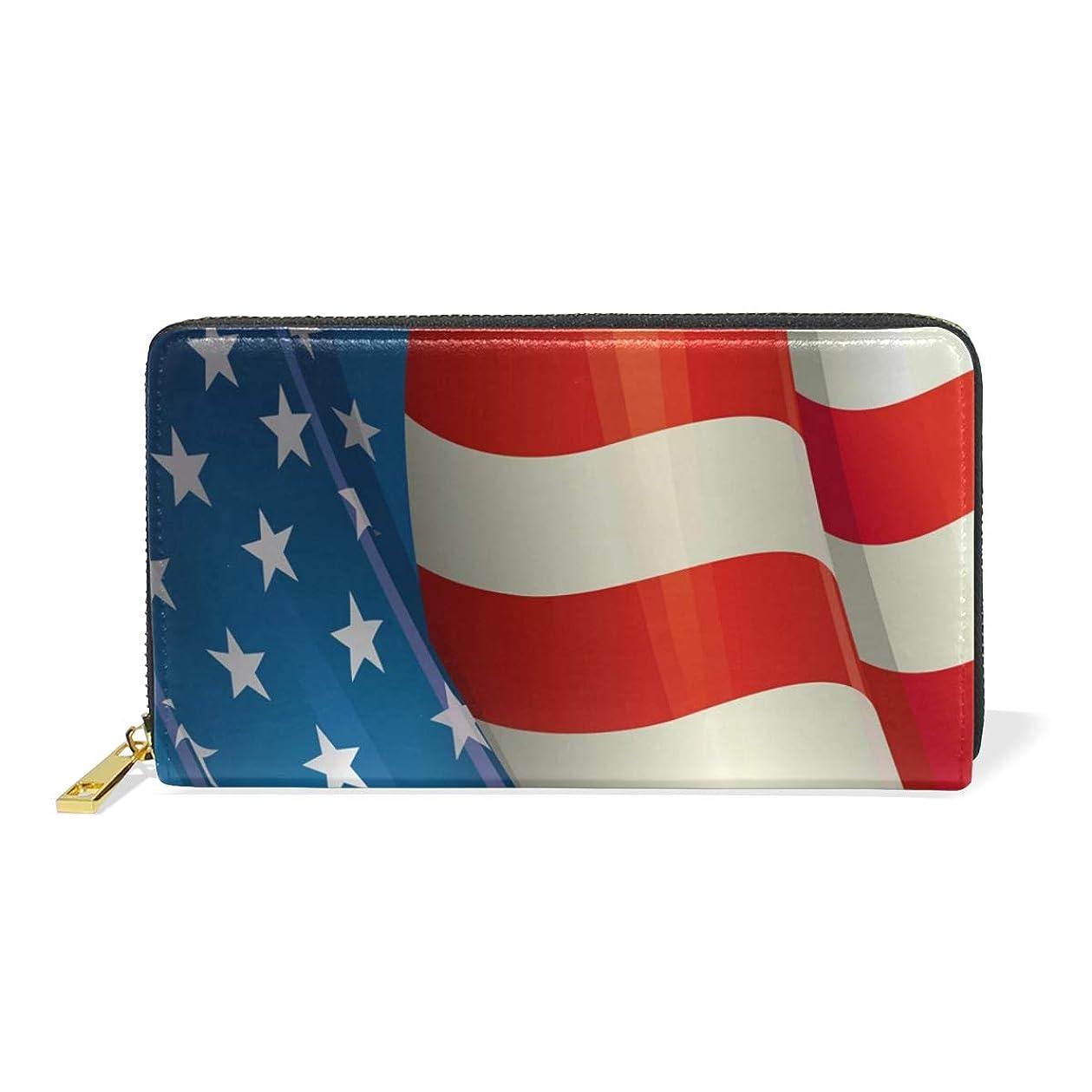 役立つ想定するヤギマキク(MAKIKU) 長財布 レディース 大容量 星条旗柄 国旗 レザー 革 プレゼント対応