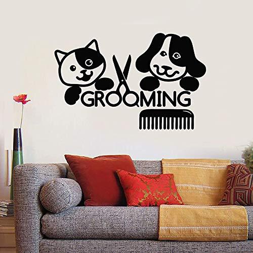 LKJHGU Aseo de Mascotas Pared calcomanía salón Esteticista Aseo Gato Perro Mascota Animal Vinilo Ventana Pegatina Peine Tijeras Mural decoración de Interiores Regalo