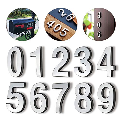 Hopewan Self Adhesive Mailbox Numbers, Door Numbers, Address Number Stickers for Apartment, 2.75' High, 3D Raised Style, Pack of 10, Chrome Plated, Silver Shiny.(2.75' 10 Pack (0-9), Silver)