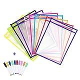 Resuable Dry Erase Pockets Papelería Suministros,10 Piezas Reutilizable Escribir y...