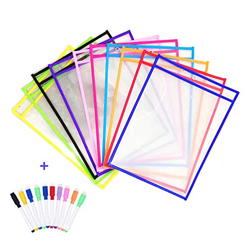 Resuable Dry Erase Pockets Papelería Suministros,10 Piezas Reutilizable Escribir y Limpiar Bolsillos para la Organización en el Aula y Colegio y Trabajo,35.5×25.5 cm