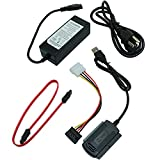 Longdex 5PCS External AC Power Adapter and SATA/PATA/IDE to USB 2.0 Adapter Converter Cable for Hard Drive Optical Drive