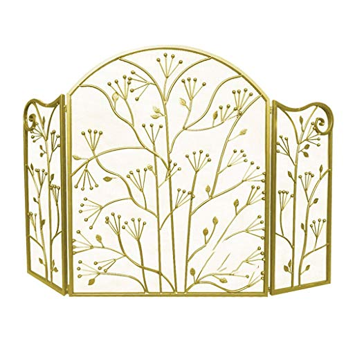 Salvachispas 3 Panel plegable fuego protector de la pantalla, Chimenea Cerca con las hojas Modelo, de interior y al aire libre, independiente Spark Guardia for el bebé y mascotas Decoración de la chim