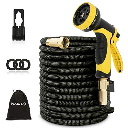 "Panda Grip 25 ft Expandable Garden Hose with 10 Function Spray Nozzle, 3 Times Expanding Water Hose with 3/4"" Solid Brass Fittings for Watering Garden, Washing Car, Pet Cleaning,Black…"