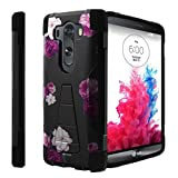 Untouchble Compatible with [ LG V10 (2015), LG V10 Case] Kickstand Case Shock Absorbing Drop Protection Dual Layer Case - Shades of Purple Flowers
