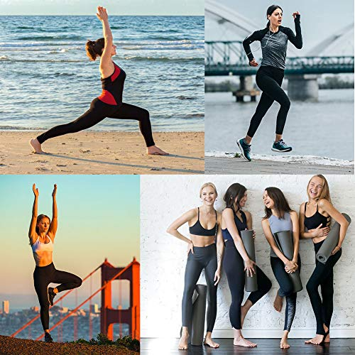 Occffy Yoga Pants with Pockets, Tummy Control, Workout Running Leggings with Pockets for Women DS166 (Black, M)