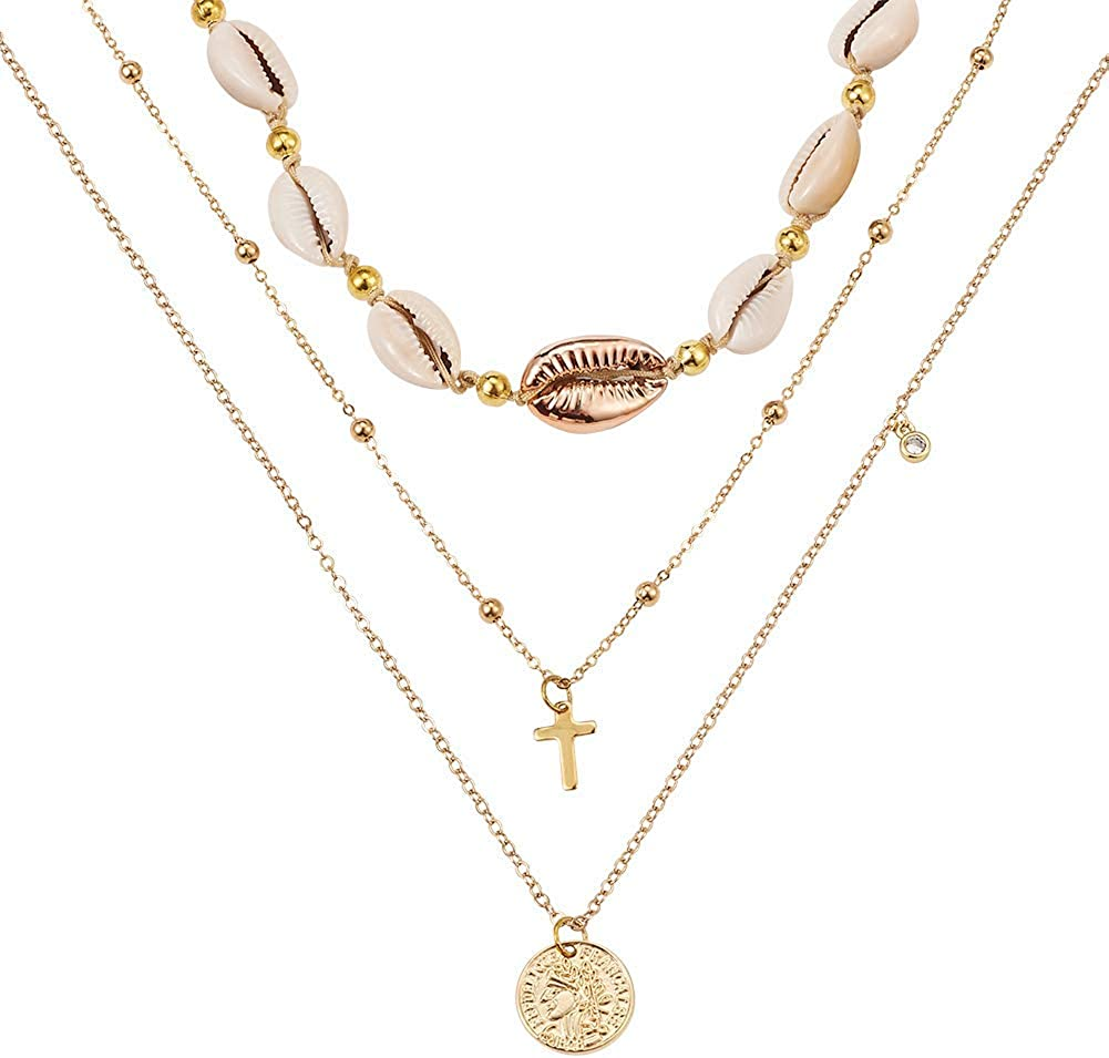 Craftdady Multi-Layer Cowrie Seashell Necklace Bohemian Collar Conch Shell Gold Chain Adjustable Choker for Women Girls